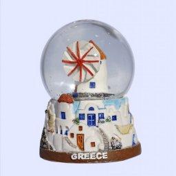 Small Mykonos Snowglobe - Brown base 1
