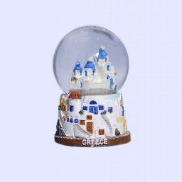 Small Santorini Snowglobe - Brown base 1