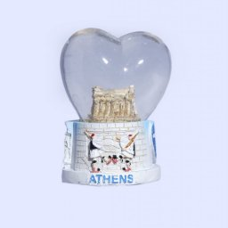 Parthenon Acropolis Heartshaped Snowglobe - Base with iconic greek elements  1