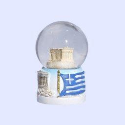 Small Parthenon Acropolis Snowglobe - Base with iconic greek elements  1