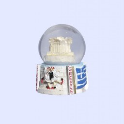 Parthenon Acropolis Snowglobe - Base with iconic greek elements (Tsoliades and the greek national flag) 1