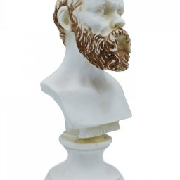Socrates greek alabaster bust statue with color 2
