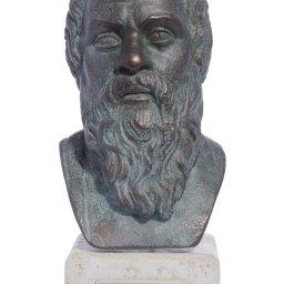 Socrates green greek plaster bust statue 1