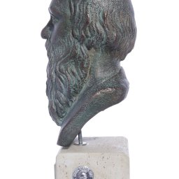 Socrates green greek plaster bust statue 2