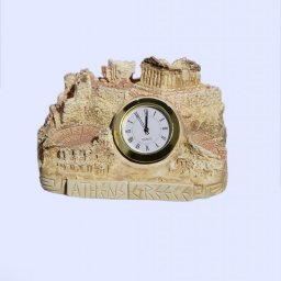 Plaster table clock depicting the rock of Acropolis in Athens 1