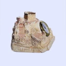 Plaster table clock depicting the rock of Acropolis in Athens 2