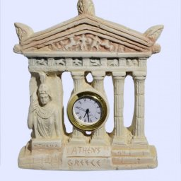 Plaster table clock with Parthenon facade of the Acropolis in Athens and goddess Athena 1