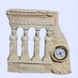 Medium plaster table clock with Caryatids (Karyatides) 1