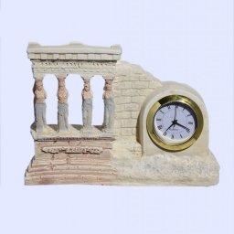 Small plaster table clock with Caryatids (Karyatides) 1