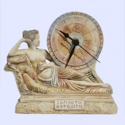 Plaster table clock with laying Aphrodite the goddess of love and beauty 1