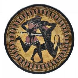 Greek ceramic plate replica depicting Theseus and Minotaur 1