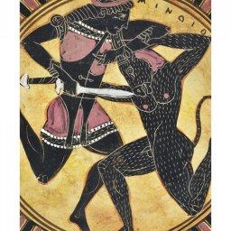 Greek ceramic plate replica depicting Theseus and Minotaur 2