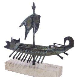 Trireme greek bronze replica statue on a white marbe base 4