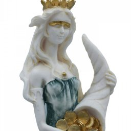 Fortuna, Tyche, the goddess of fortune, greek alabaster statue with color 3