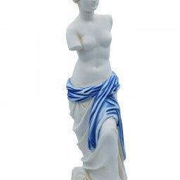 Aphrodite of Milos (Venus de Milo) greek alabaster statue with blue color and golden details 1