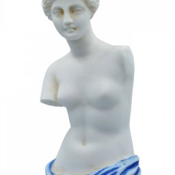 Aphrodite of Milos (Venus de Milo) greek alabaster statue with blue color and golden details 4