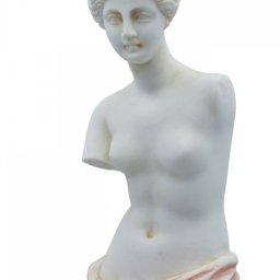 Aphrodite of Milos (Venus de Milo) greek alabaster statue with pink color and golden details 4