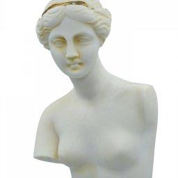 Aphrodite of Milos (Venus de Milo) greek alabaster statue with purple color and golden details 3