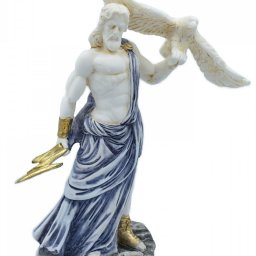 Zeus, the Father of Gods, greek alabaster statue with blue color and patina 1