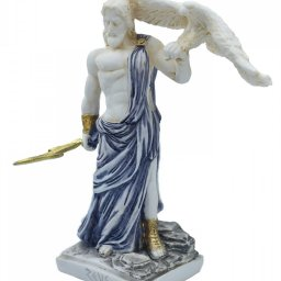 Zeus, the Father of Gods, greek alabaster statue with blue color and patina 2