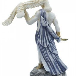 Zeus, the Father of Gods, greek alabaster statue with blue color and patina 3
