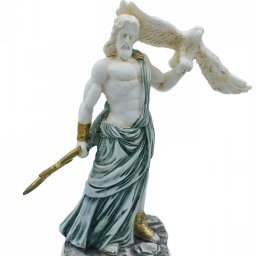 Zeus, the Father of Gods, greek alabaster statue with green color and patina 1