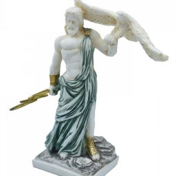 Zeus, the Father of Gods, greek alabaster statue with green color and patina 2