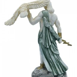 Zeus, the Father of Gods, greek alabaster statue with green color and patina 3
