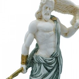 Zeus, the Father of Gods, greek alabaster statue with green color and patina 4