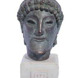 Zeus green plaster bust statue 1
