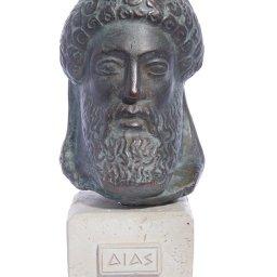 Zeus green greek plaster bust statue 1