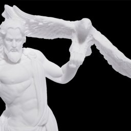 Zeus with eagle and thunder, greek alabaster statue 3