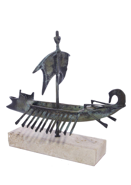 Trireme greek bronze replica statue on a white marbe base