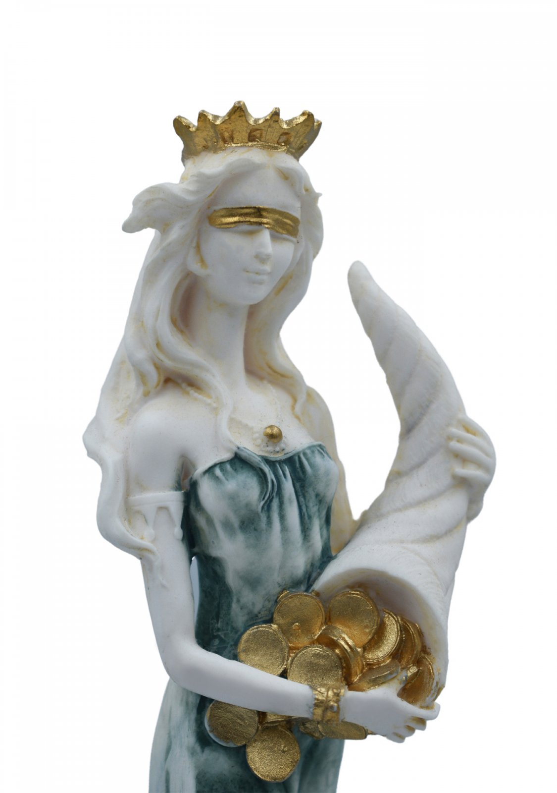 Fortuna, Tyche, the goddess of fortune, greek alabaster statue with color
