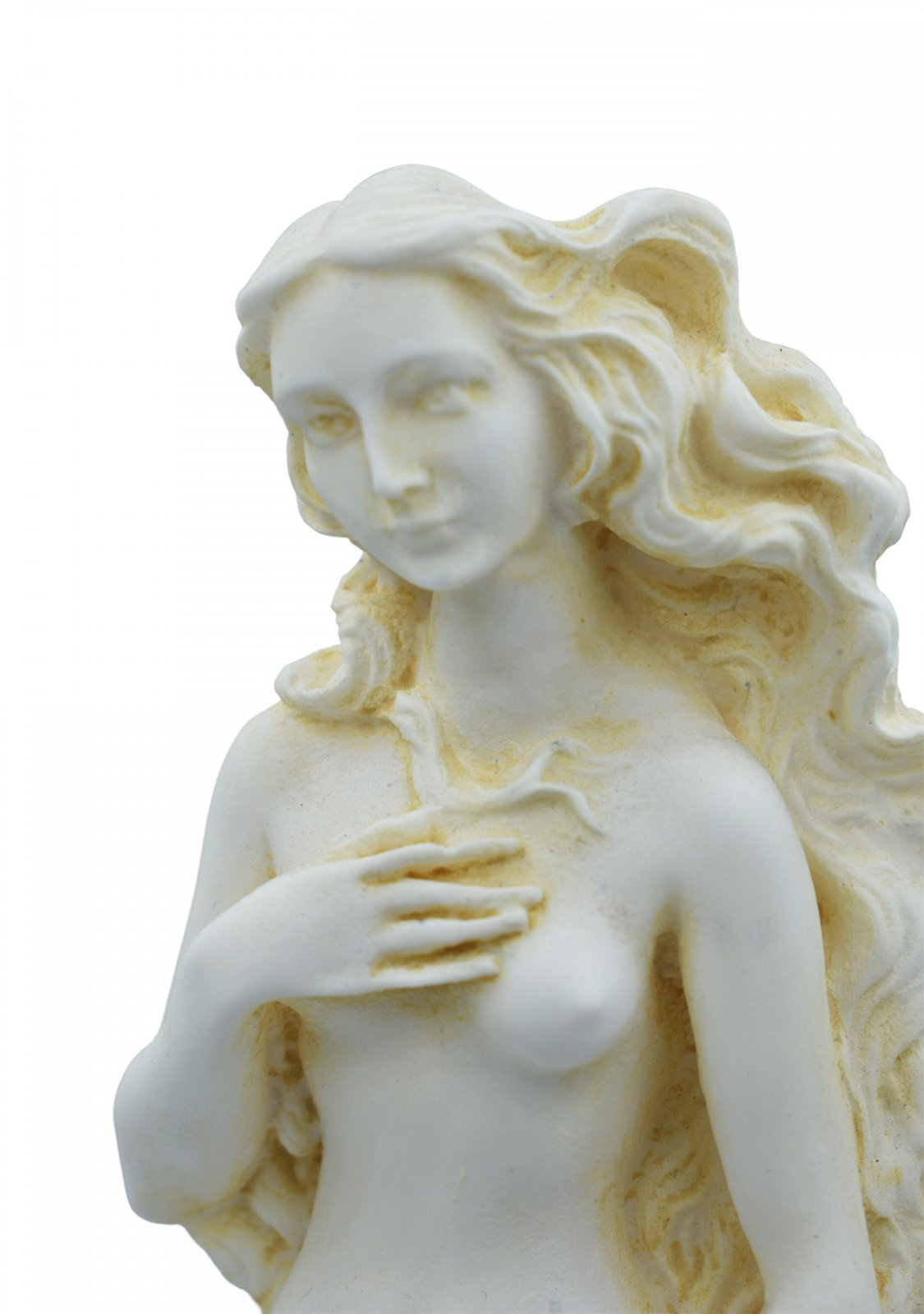 Aphrodite on a shell, Birth of Venus, Greek alabaster statue with color