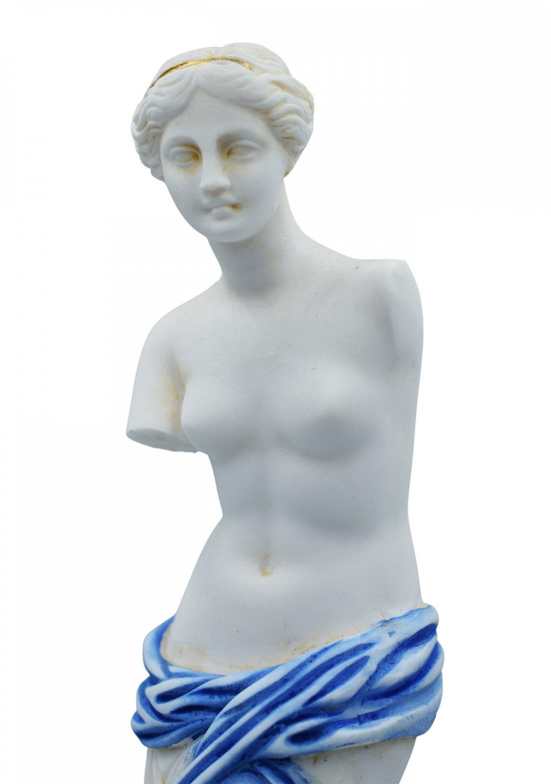 Aphrodite of Milos (Venus de Milo) greek alabaster statue with blue color and golden details