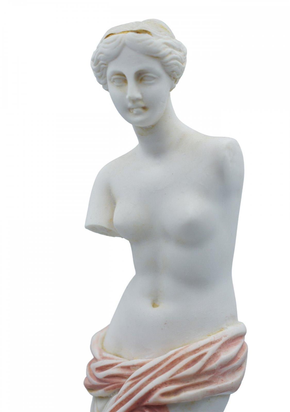 Aphrodite of Milos (Venus de Milo) greek alabaster statue with pink color and golden details