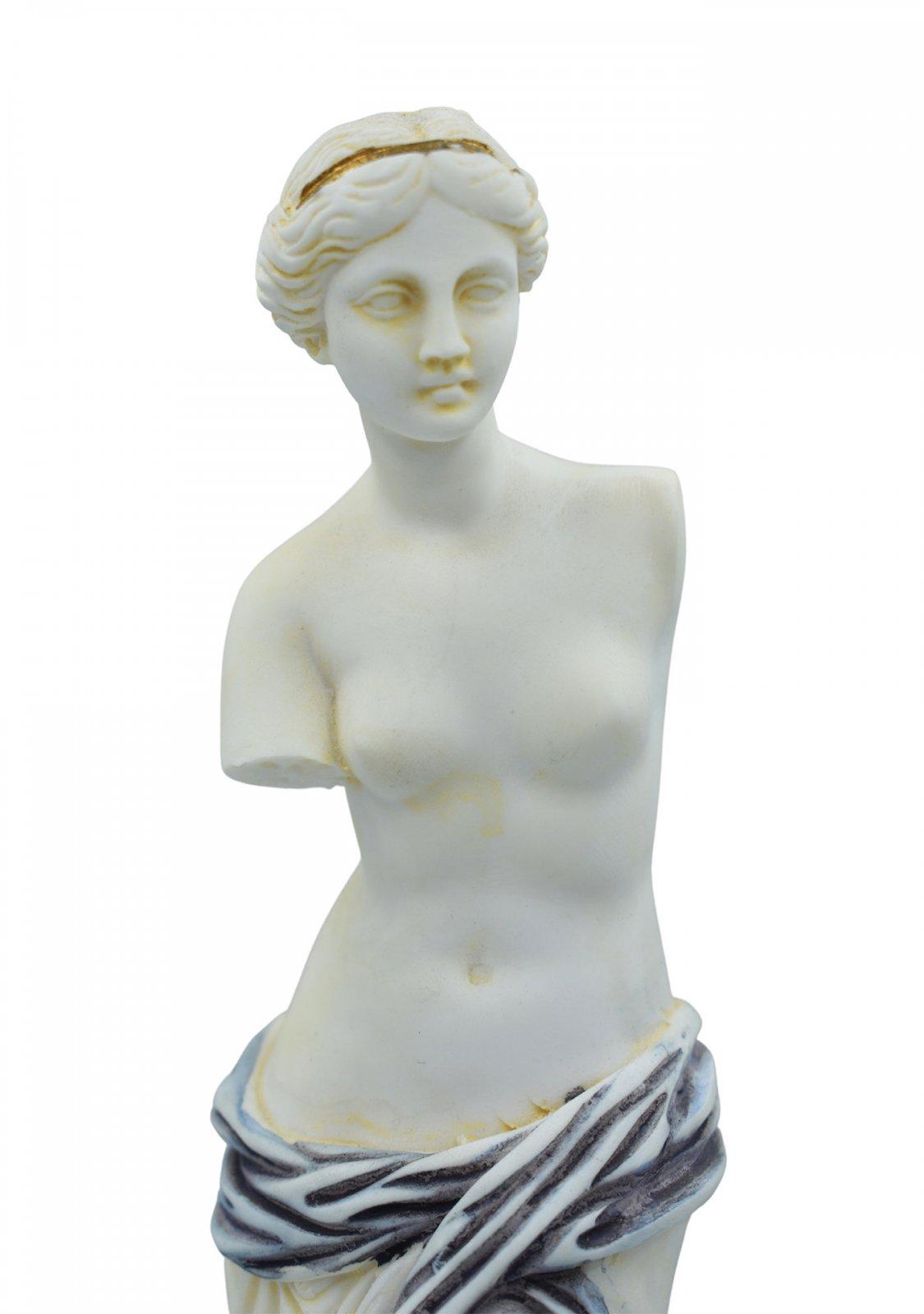 Aphrodite of Milos (Venus de Milo) greek alabaster statue with purple color and golden details