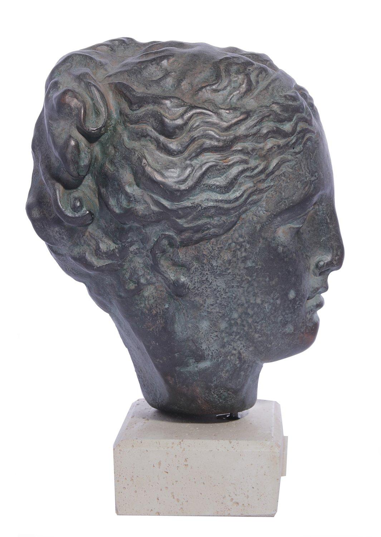 Hygieia (or Hygeia) green plaster bust statue