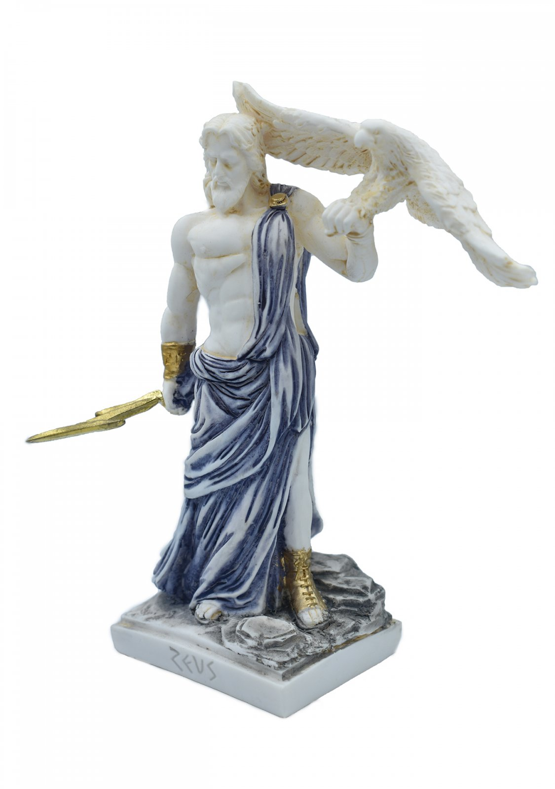 Zeus, the Father of Gods, greek alabaster statue with blue color and patina