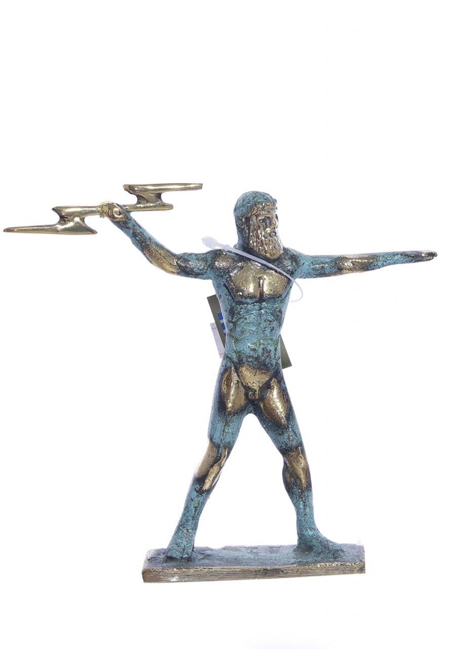 Bronze statue of Zeus holding a thunderbolt