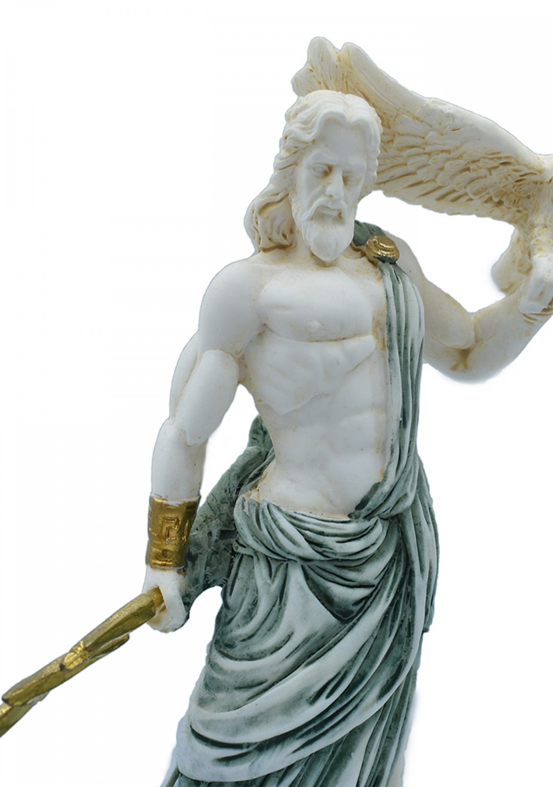 Zeus, the Father of Gods, greek alabaster statue with green color and patina