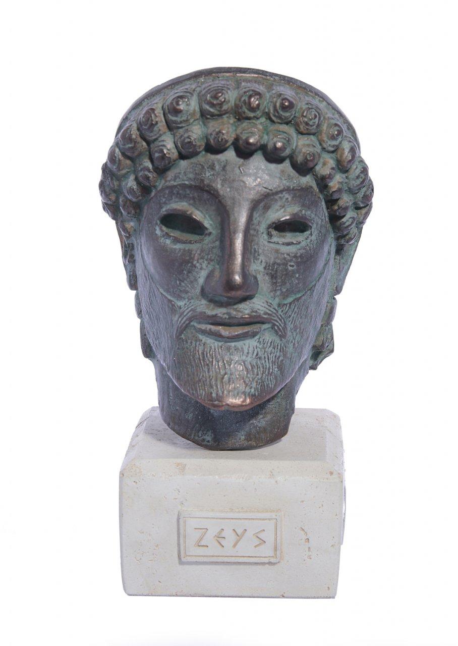 Zeus green plaster bust statue