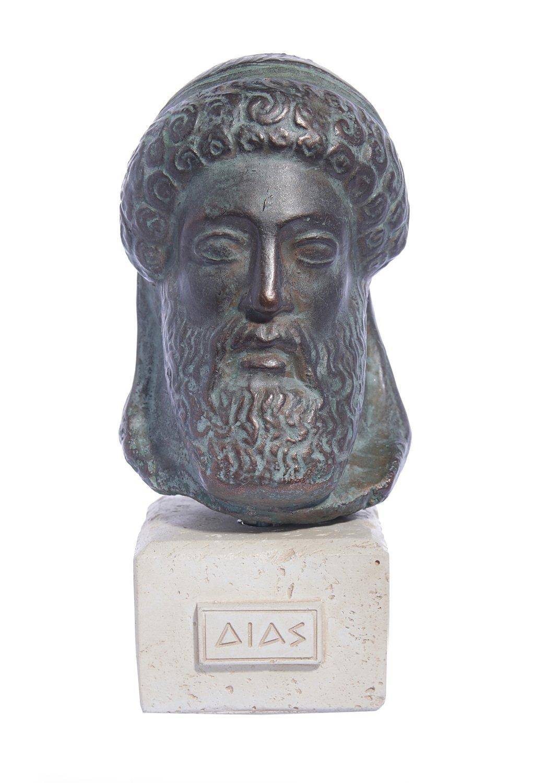 Zeus green greek plaster bust statue