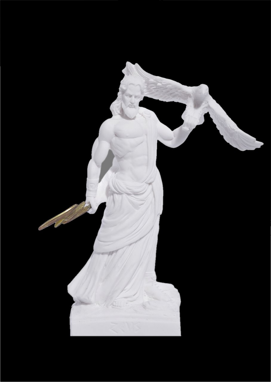 Zeus with eagle and thunder greek alabaster bust statue