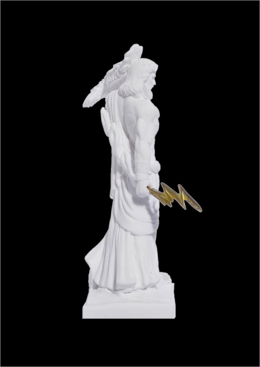 Zeus with eagle and thunder, greek alabaster statue