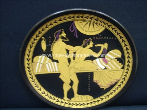 Greek pottery ceramic plate with Zeus and Ganymedes Greek pottery Ancient greek vessels